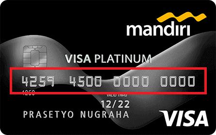 Gambar Kartu kredit Mandiri berisi 16 digit nomor kartu