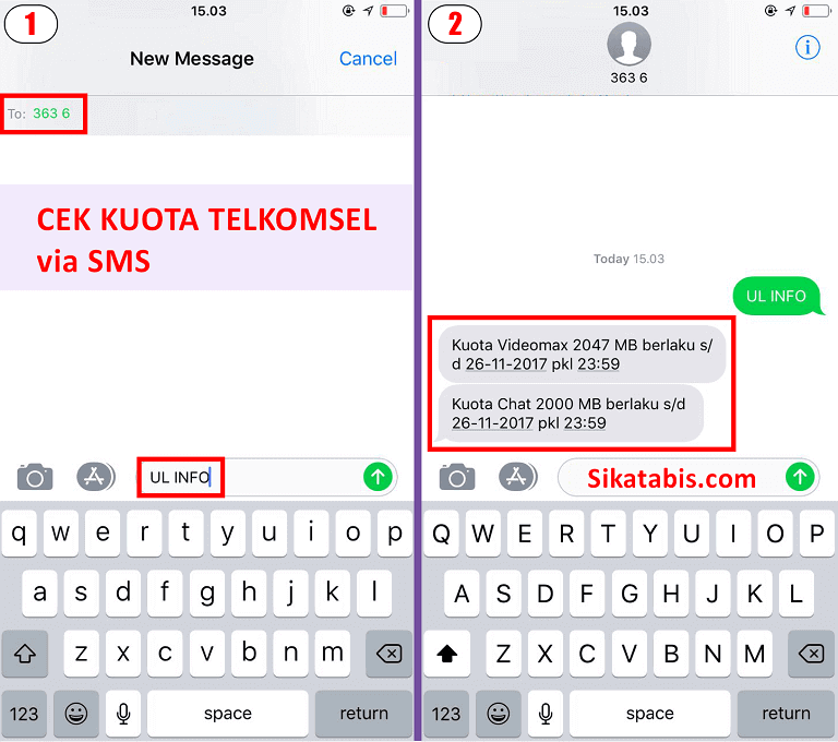 Cara cek kuota Telkomsel Simpati, Loop, As lewat SMS