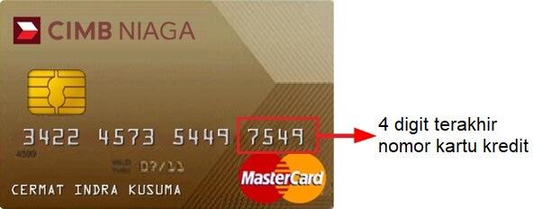Letak nomor kartu kredit CIMB Niaga