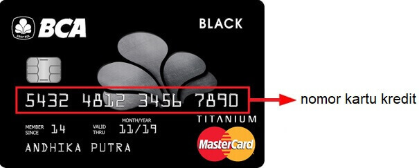 Letak nomor kartu kredit BCA
