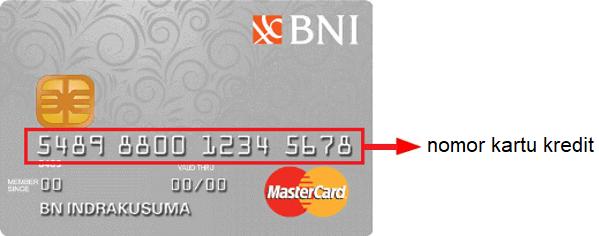 Letak nomor kartu kredit BNI