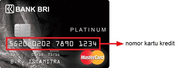 Letak 16 digit nomor kartu kredit BRI