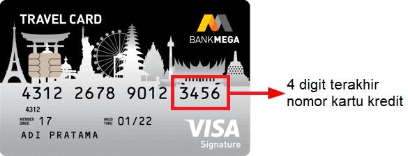 Letak nomor kartu kredit Bank Mega