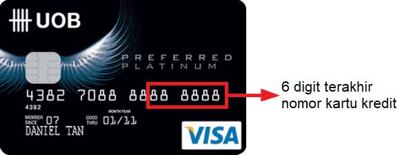 Letak 16 digit nomor kartu kredit UOB