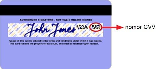 Letak nomor CVV di belakang kartu kredit