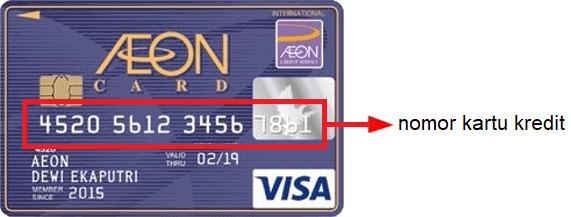 Letak 16 digit nomor kartu kredit AEON