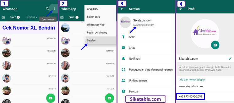 Cara mengecek nomor HP XL sendiri via aplikasi chatting WhatsApp