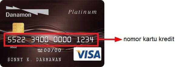 Letak 16 digit nomor kartu kredit Danamon