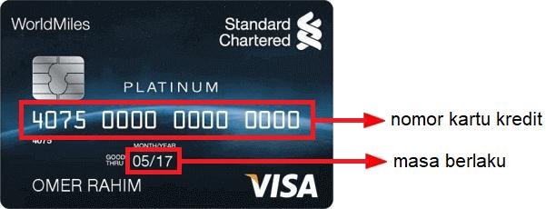 Letak 16 digit nomor kartu kredit Standard Chartered Bank (SCB)