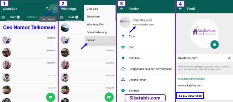 Cara cek no HP Telkomsel (kartu As, Halo, simPATI, Loop) Sendiri lewat Aplikasi WhatsApp