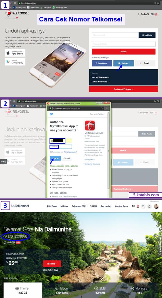 Cek no kartu simPATI, Loop, As, Halo online via website Telkomsel