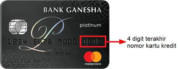 Letak 16 digit nomor kartu kredit Ganesha