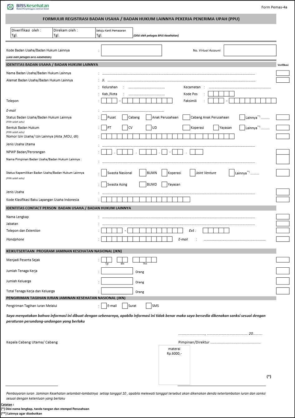 Formulir untuk daftar BPJS Kesehatan Perusahaan / Badan Usaha