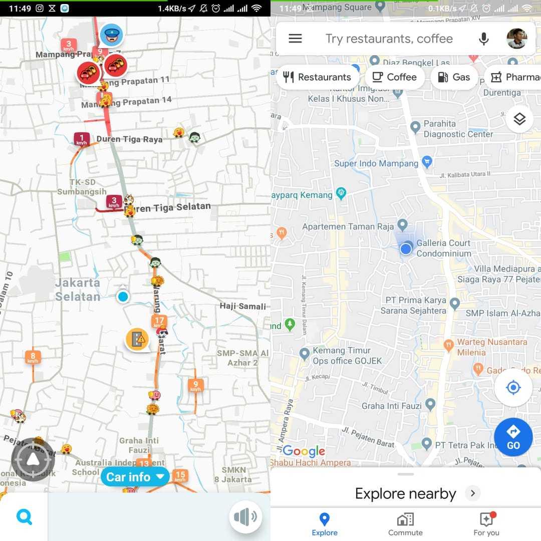 Tampilan Awal Waze vs Google Maps