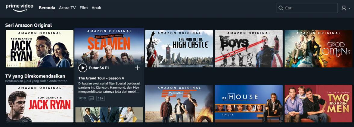 Langganan Amazon Prime Video untuk nonton di rumah