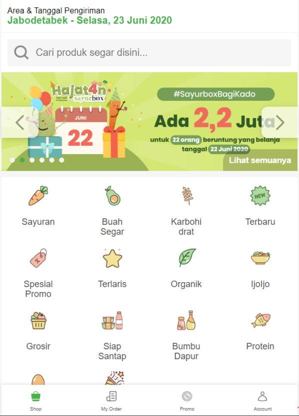 App belanja sayur online Sayurbox