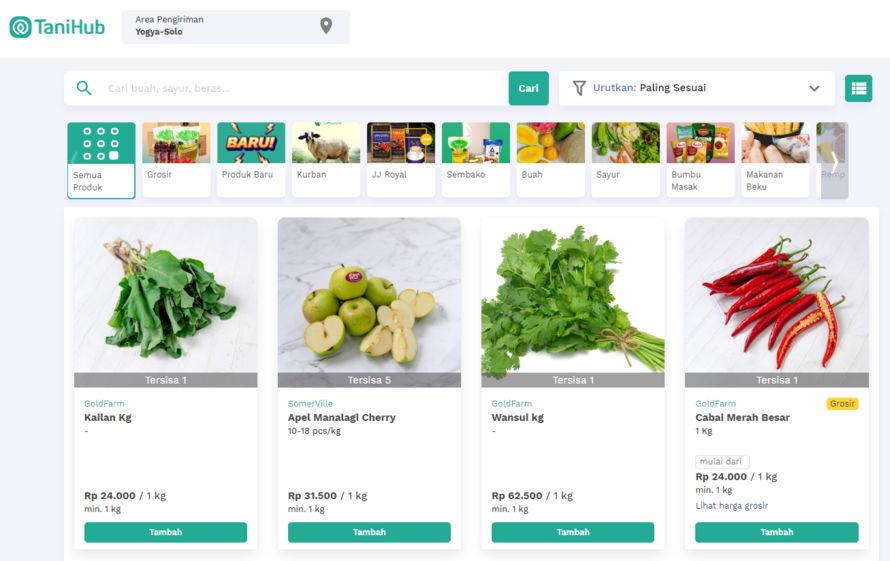 App belanja sayur online Tanihub