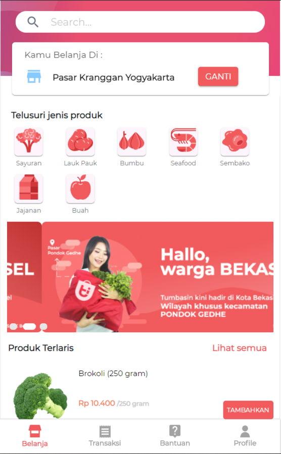 App belanja sayur online Tumbasin