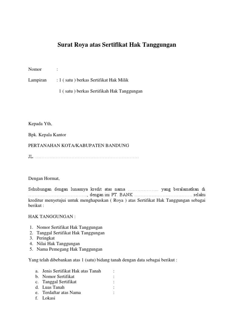 Gambar contoh surat roya hak tanggungan tanah