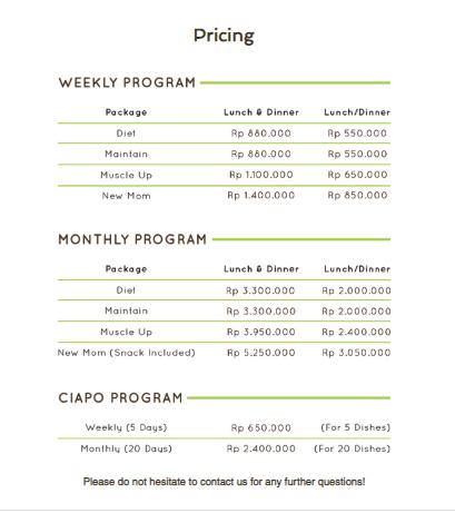 daftar harga catering online