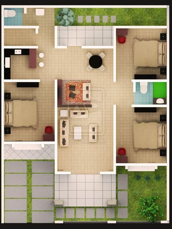 Denah rumah tipe 45