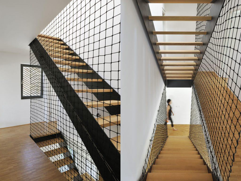 railing tangga unik dari tali