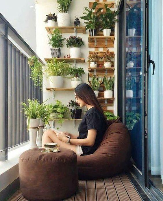 balkon minimalis tanaman